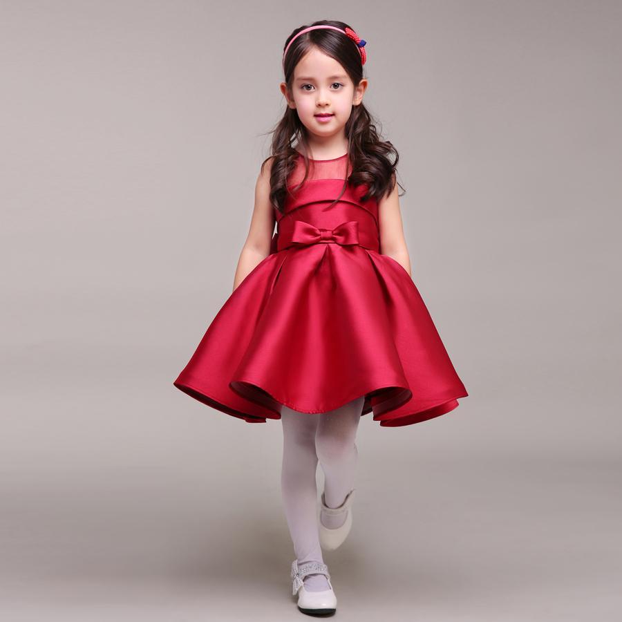Dark Red Short Taffeta Flower Girl Dress For Weddings Big Bow On ...