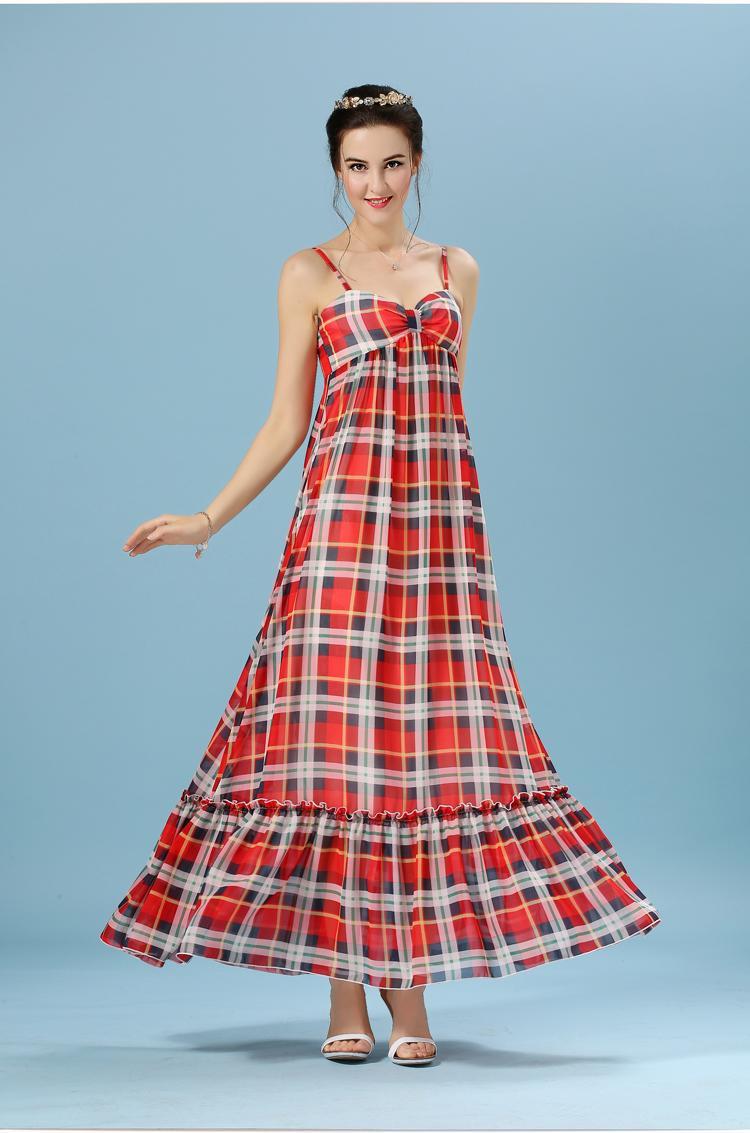 Women Summer Traditional Tartan Plaid Dress Maxi Length Red Tartan ...