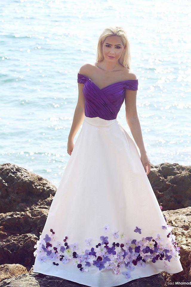White And Purple Summer Wedding Dresses 114