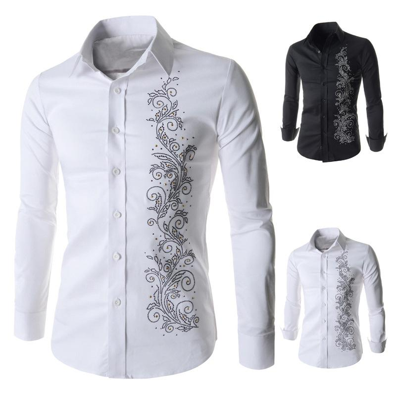 Luxury Brand Mens Shirts Long Sleeve Cotton Button Dress Man Shirt ...