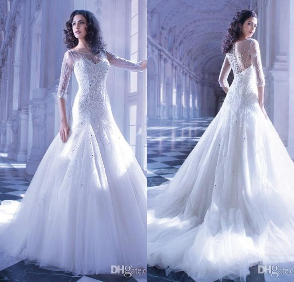 Luxury wedding dresses high end jewel bridal gowns tulle 3 for High end wedding dress