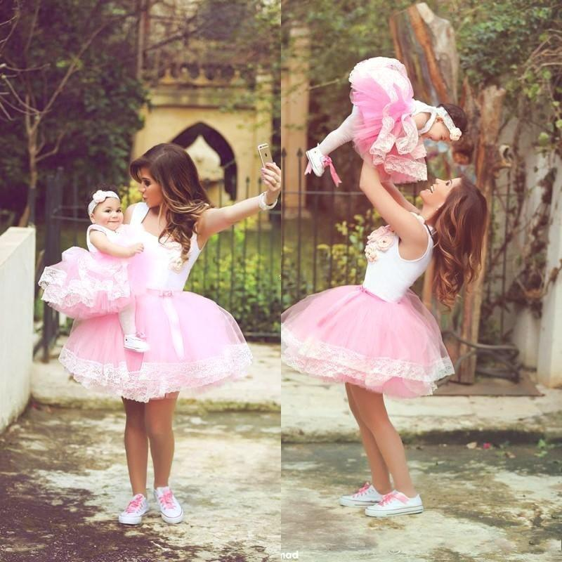 2015 Lovely Mother And Daughter Tutu Dresses Short Ball ...