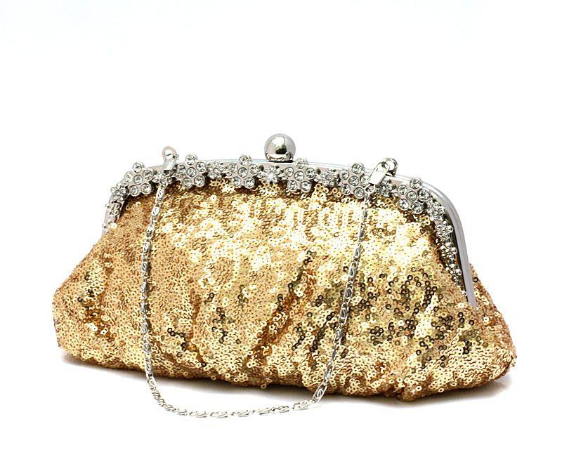 Wholesale-New Shining Sheet Clutch Bag Women's Diamond Flower ...