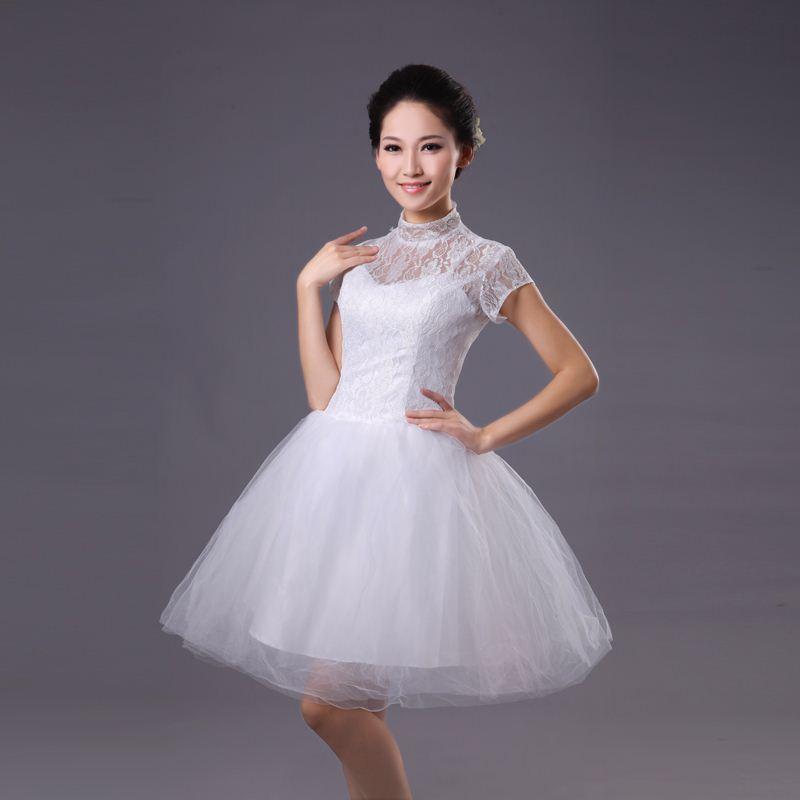 Оптом - 2015 новый белое свадебное платье невесты платье короткий параграф принцесса кружева вечернее платье пачка платье Корейский