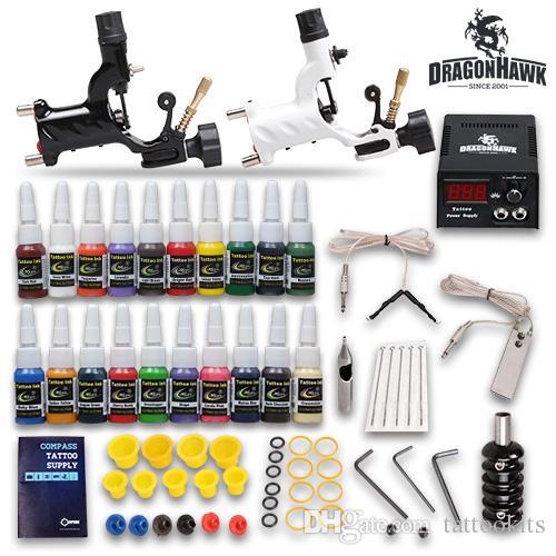Complete tattoo kit 2 machine guns 20 ink equipment needle for Full tattoo kit