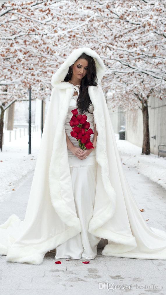 2015 Winter White Wedding Cloak Floor Length Bridal Free Size ...