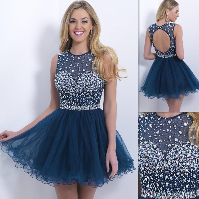 Wholesale - 2015 Casual Navy Blue Homecoming Dresses Backless ...