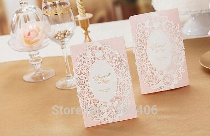 Pink Wedding Invitation Elegant Luxury Laser Cut Paper Card Custom – Inviting Cards
