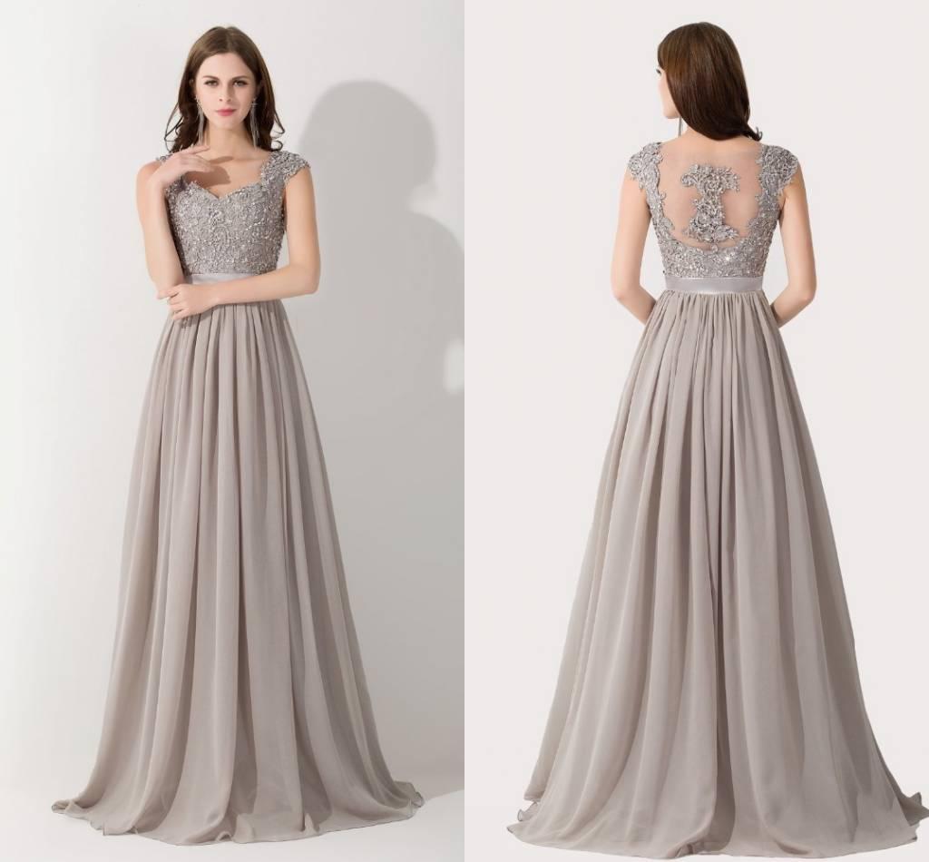 Hot Discounts Silver Chiffon Prom Dresses Appliques