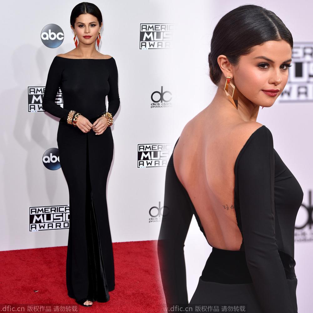 Selena gomez red carpet black dress