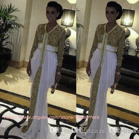 Sparkly gold white Long Sleeves Prom Dresses Sequins Floor Length Pageant chiffon Party Dress Evening Gowns BO7204