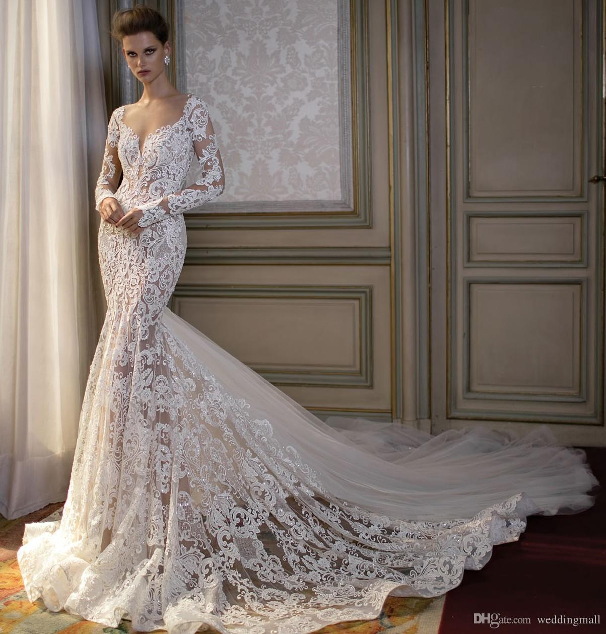 Berta 2016 Lace Mermaid Wedding Dresses Sheer Neck Long