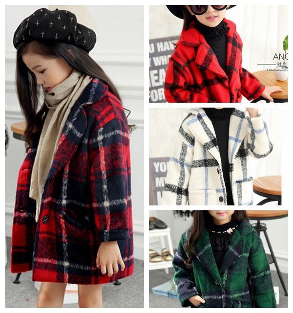 Kids Woolen Coat British Girl Kids Jackets Outwear Plaid Long