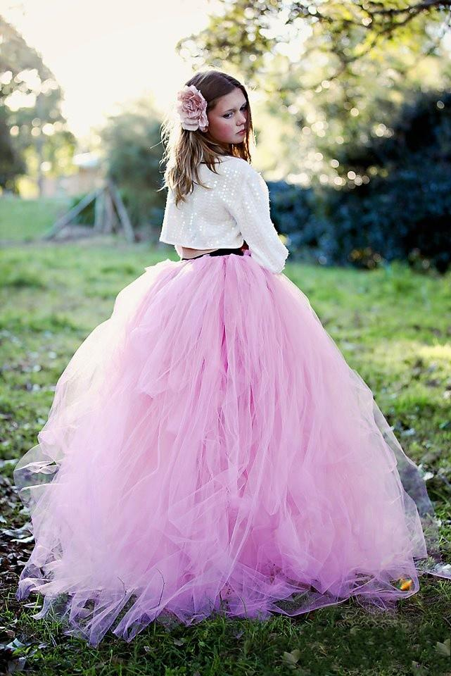 Discount Puffy Tulle Tutu Pink Skirts Junior Girl Party Dresses Floor Length Multi Layers Ball ...