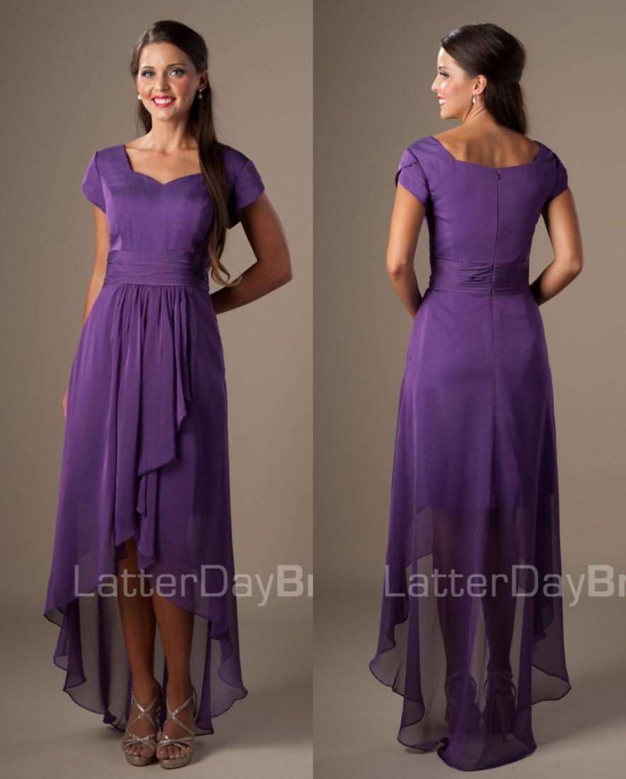 Simple purple high low chiffon church short modest for Purple summer dresses for weddings