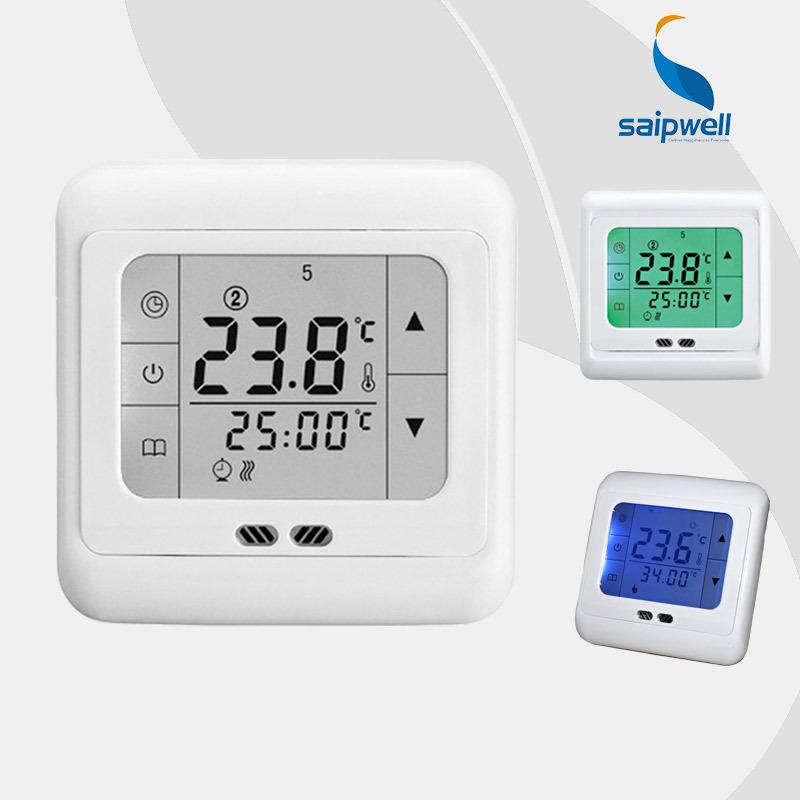 best saipwell thermostat digital touch screen display room thermostat floor heating temperature. Black Bedroom Furniture Sets. Home Design Ideas