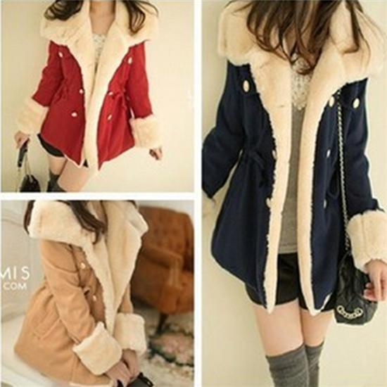 Women Faux Fur Coat Casual Hood Parka Ladies Long Trench Jacket ...