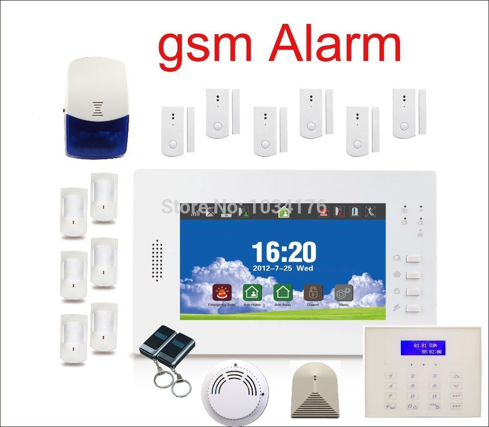 gsm alarm kit glass break smoke detector security alarm system for home o. Black Bedroom Furniture Sets. Home Design Ideas