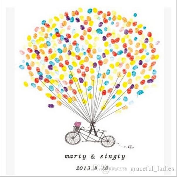 Wedding Fingerprint Tree Guest Book Bike Ballon Thumbprint