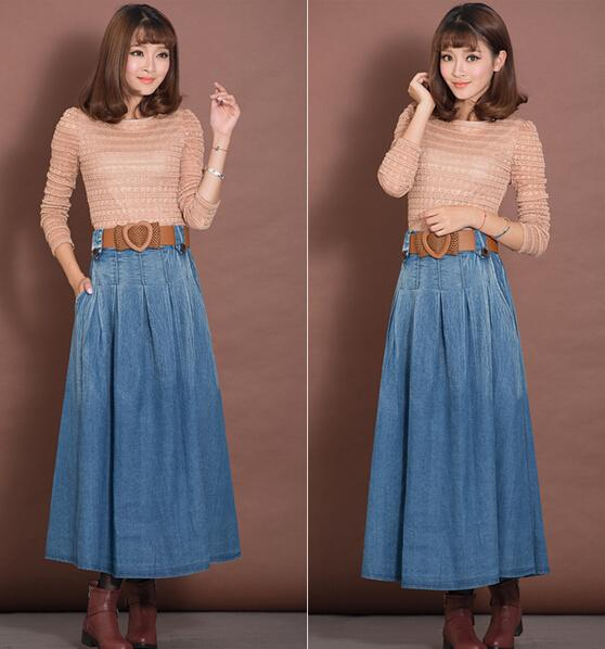 2015 Fashion Long Mid Calf A-line Skirts For Women Elastic Waist ...