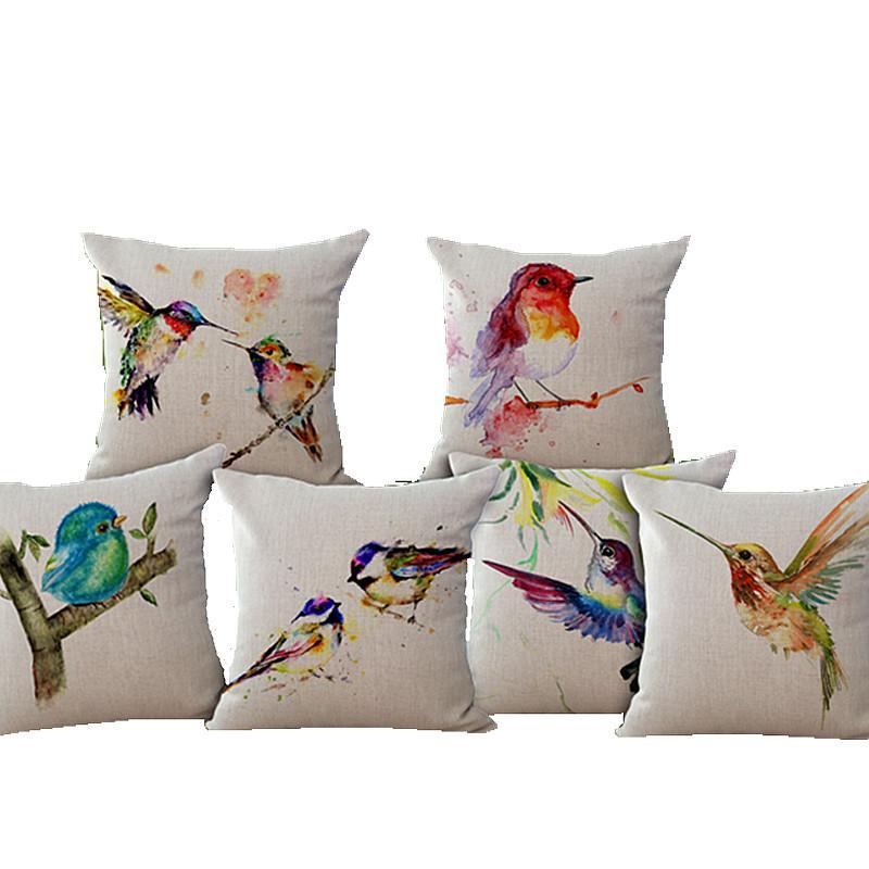 Watercolor Bird Decorative Linen Cotton Pillow Cushion /Home Decor Sofa Cushions /Hand Drawing ...