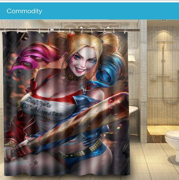2016 bathroom docor harley quinn sexy beauty shower curtain 160