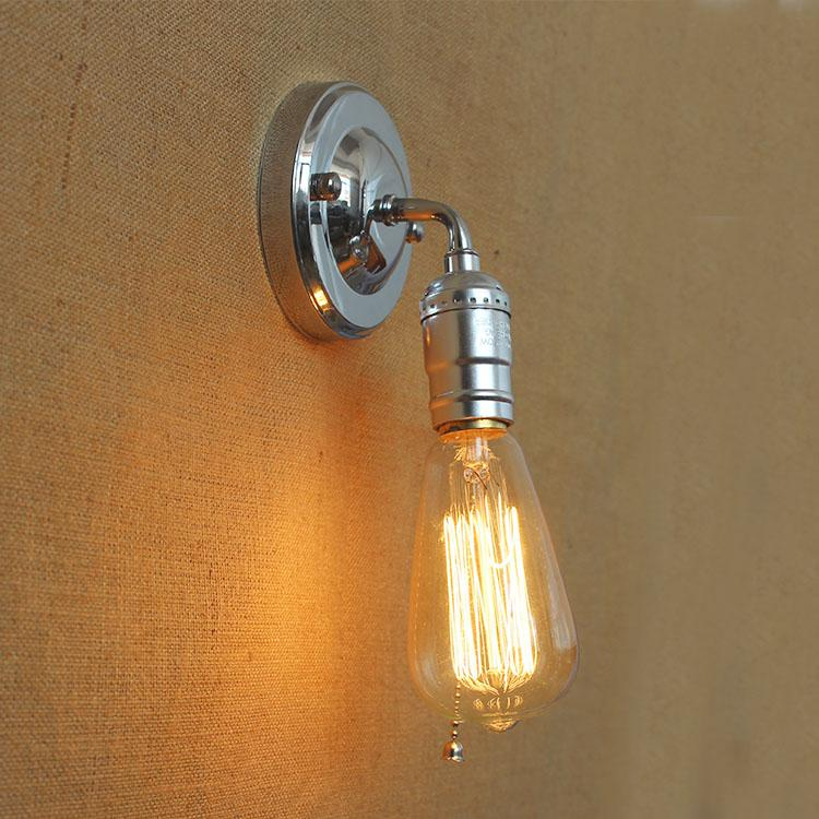 Chrome High Quality Iron Wall Sconce Simple Rustic Retro Lamp No Shade Edison Bulb Fixtures Indoor Lighting Fixture