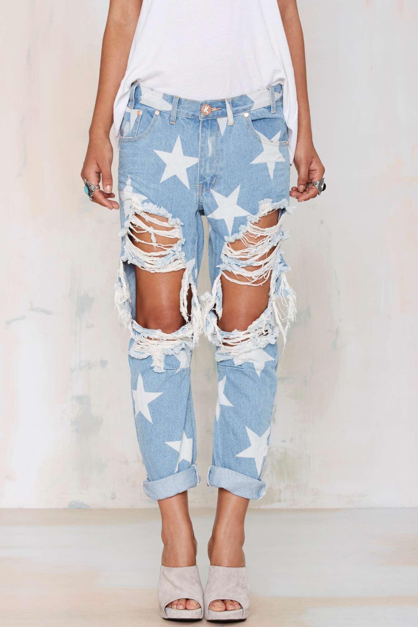 Best Boyfriend Style Star Pattern Loose Ripped Big Hole Jeans ...