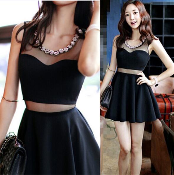 2015 Summer Women Clothes Korean Fashion Sexy Mesh Patchwork Women Black Party Dress Hot Night