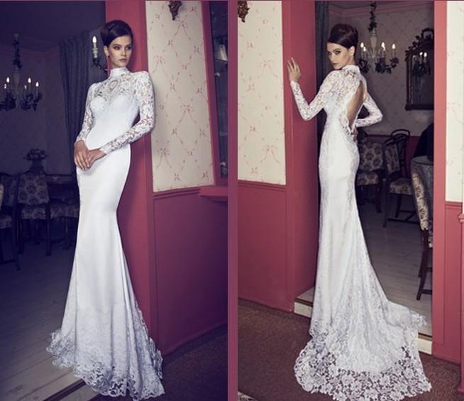High Neck Long Sleeve Mermaid Wedding Dresses Open Back Sexy&Hot ...