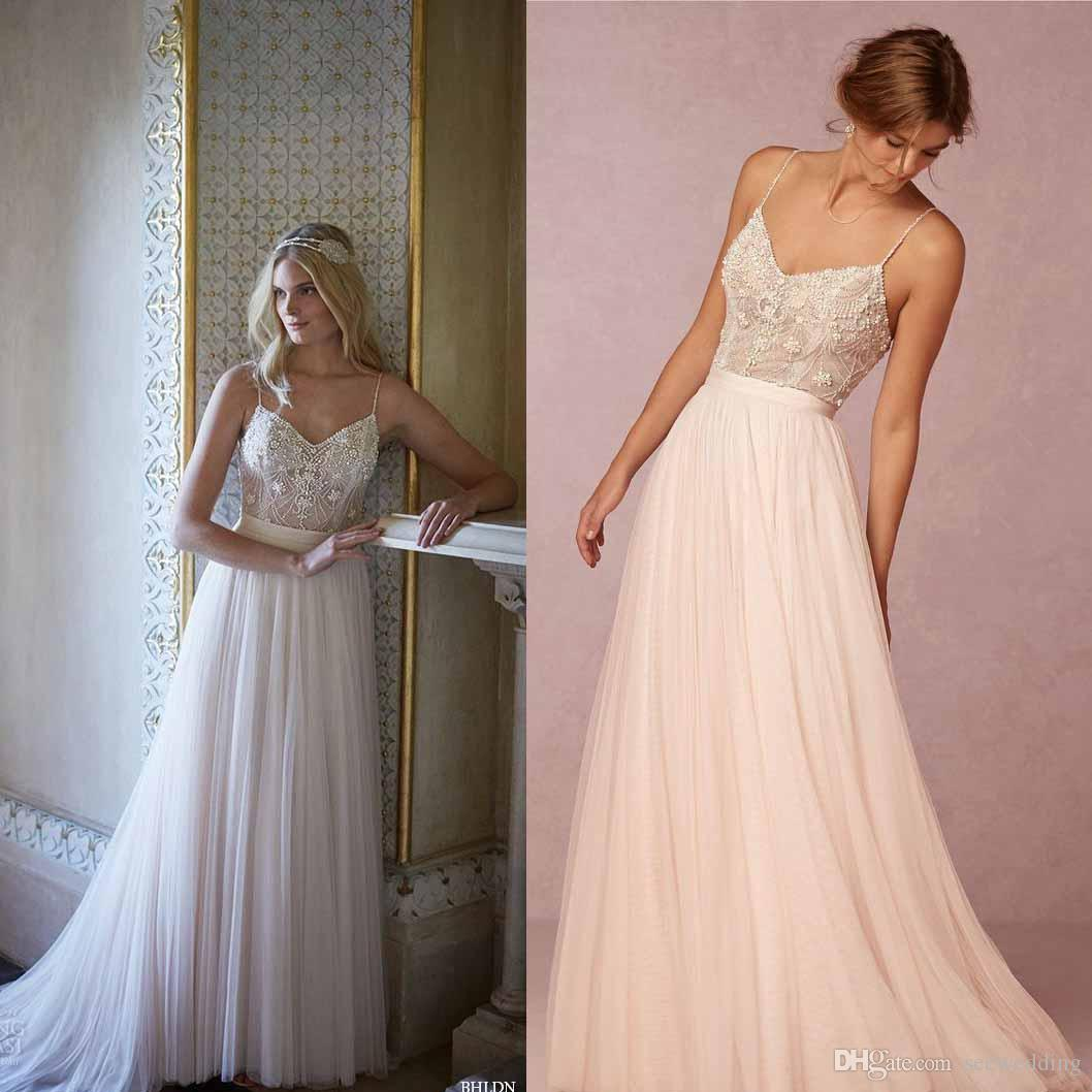 Simple A Line Spring Summer Wedding Dresses Spaghetti