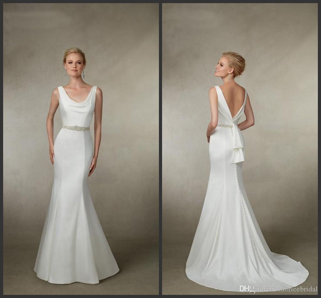 Glamorous White Satin Mermaid Wedding Dresses Mb 2016