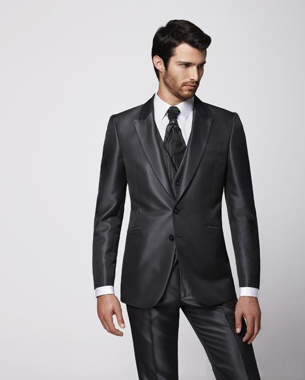 Newest Fashionable Groom Tuxedos Peak Lapel Best Man Suit Charcoal ...