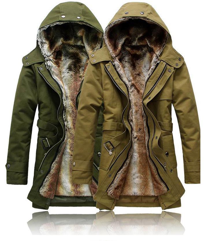 Faux Fur Lining Men Fur Trench Coat With Hood Winter Warm Long