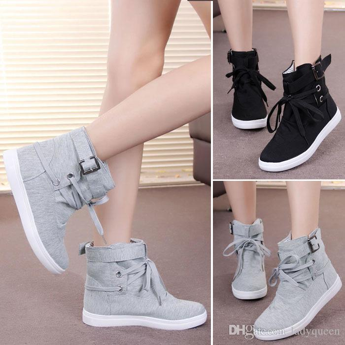 O098 Womens Girls Students Autumn Spring Lace-up Ankle Boots ...