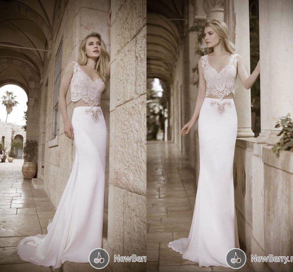 David Hasbani 2015 Two Pieces Wedding Dresses With V Neck