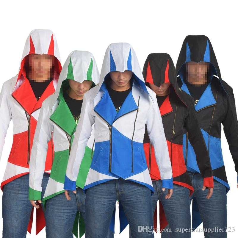 Anime Assassins Creed 3 Hooded Coat Men Jacket Conner Kenway Cosplay Outwear Dai