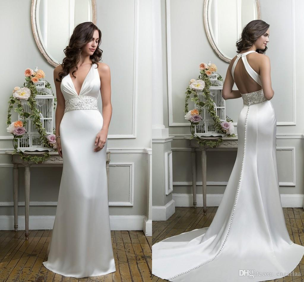 Sparkly ivory satin sheath wedding dresses 2015 sexy low v for Sparkly beach wedding dresses