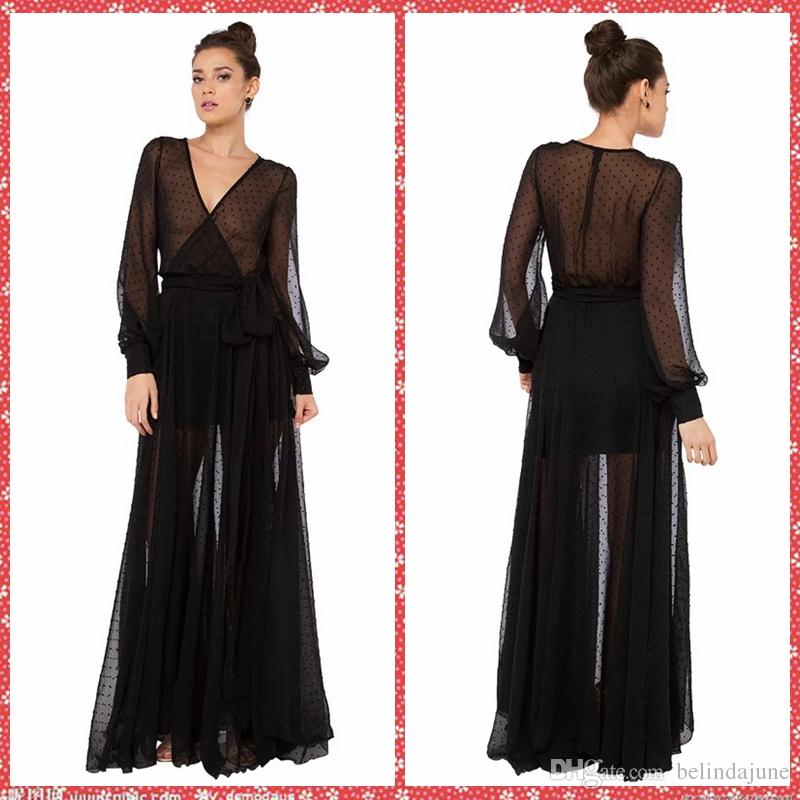 Sexy See Through Soft Net Long Sleeve Black Casual Dresses Floor ...