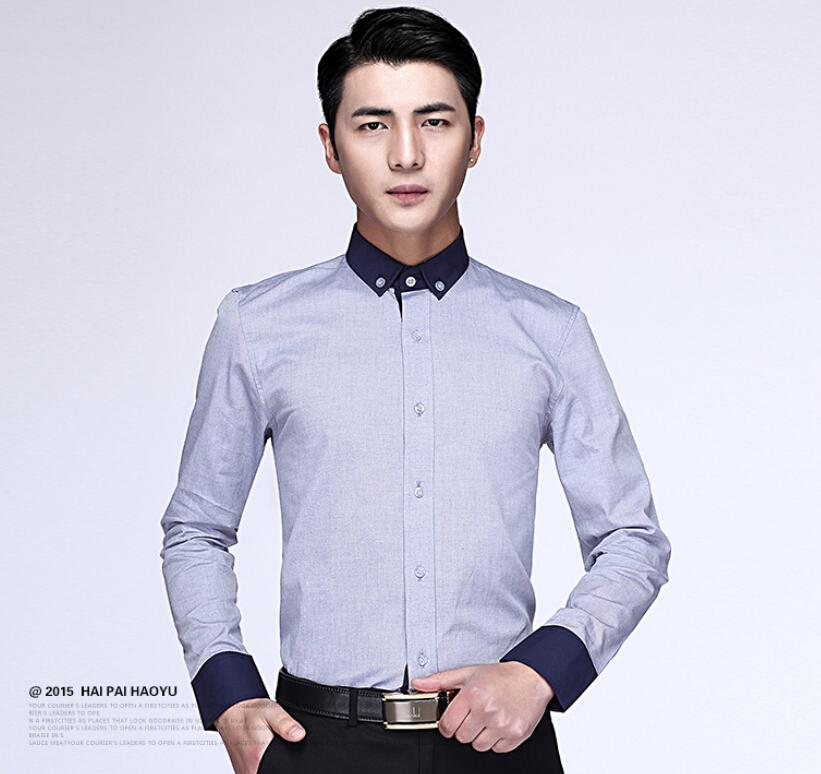 Men Professional Suits Shirts Fashion Spell Color Single-breasted ...
