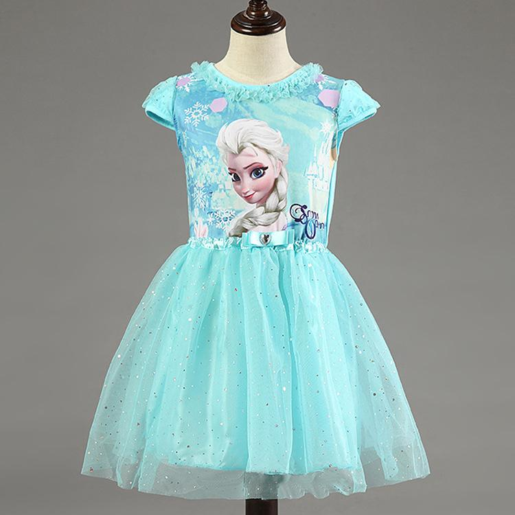 Girl Dress Summer Brand Toddler Girls Clothes Lace Sequins Princesse Anna Elsa R