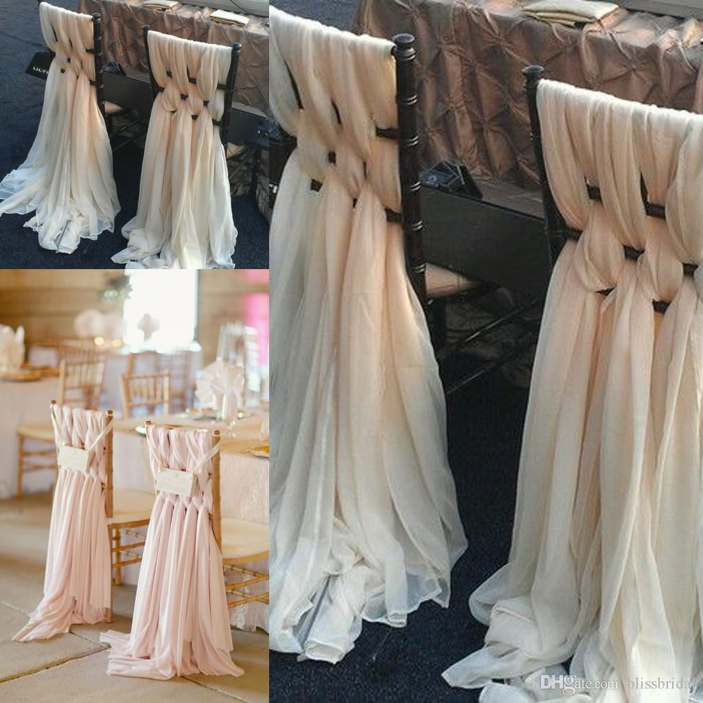custom made pink chiffon diy wedding chair covers and sashes knit
