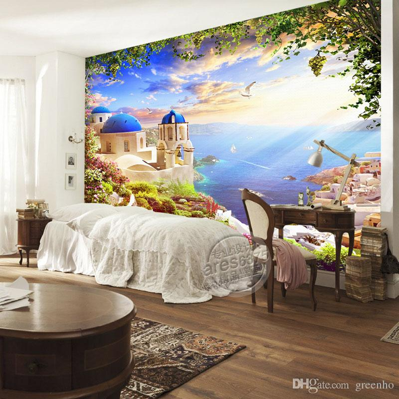 Fantasy castle photo wallpaper custom 3d wall murals for Castle mural wallpaper