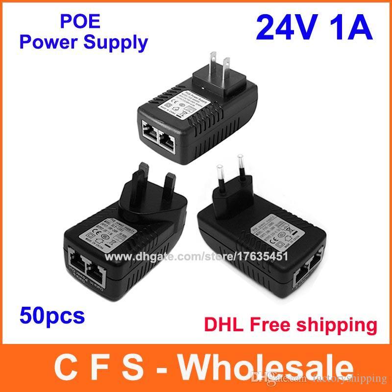 dhl dc 24v 1a wall plug poe injector ethernet adapter ip phone dhl shipping dc 24v 1a wall plug poe injector ethernet adapter ip phone camera power supply high quality 50pcs