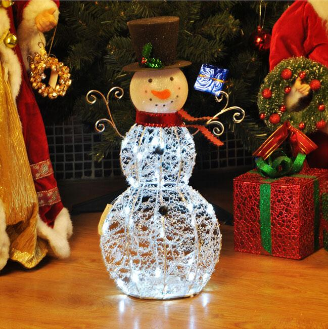 Led christmas snowman window decorations metal furnishing for Indoor christmas decorations sale