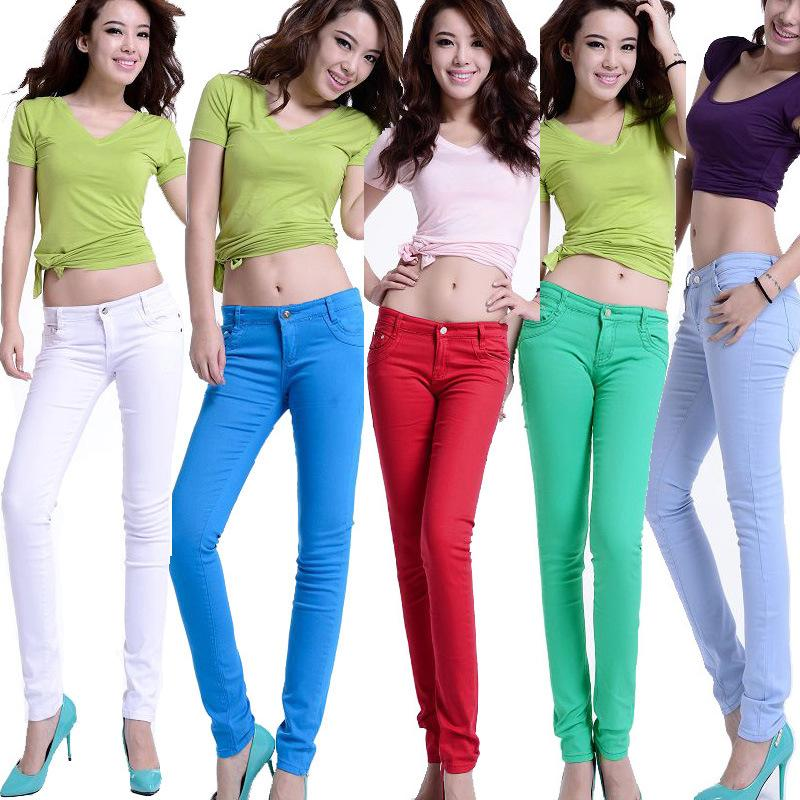2017 2016 New Fashion Boutique Female Women'S Candy Colored Jeans ...