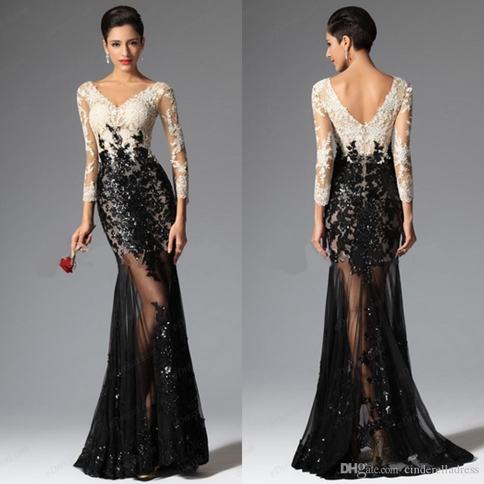 2017 Sheer Long Sleeves Sexy White And Black Formal Evening ...