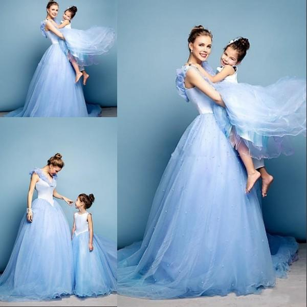 Newest cinderella prom dresses mother daughter matching for Mother daughter dresses for weddings
