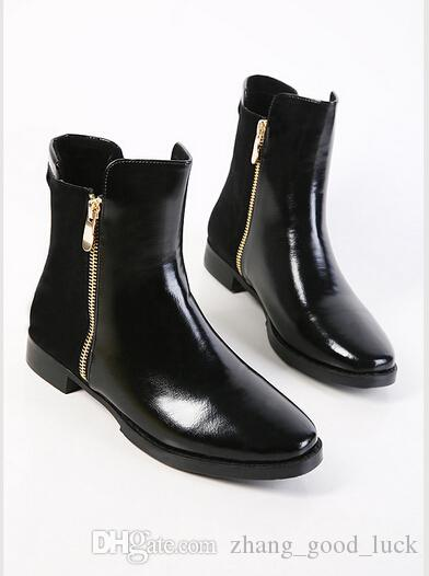 Hot! Genuine Leather Boots Comfortable Low Heel Zipper Side Sexy ...