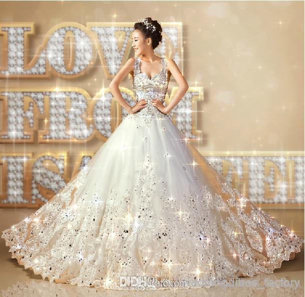 Upscale 2015 new all size white crystal appliqued satin for All white wedding dress